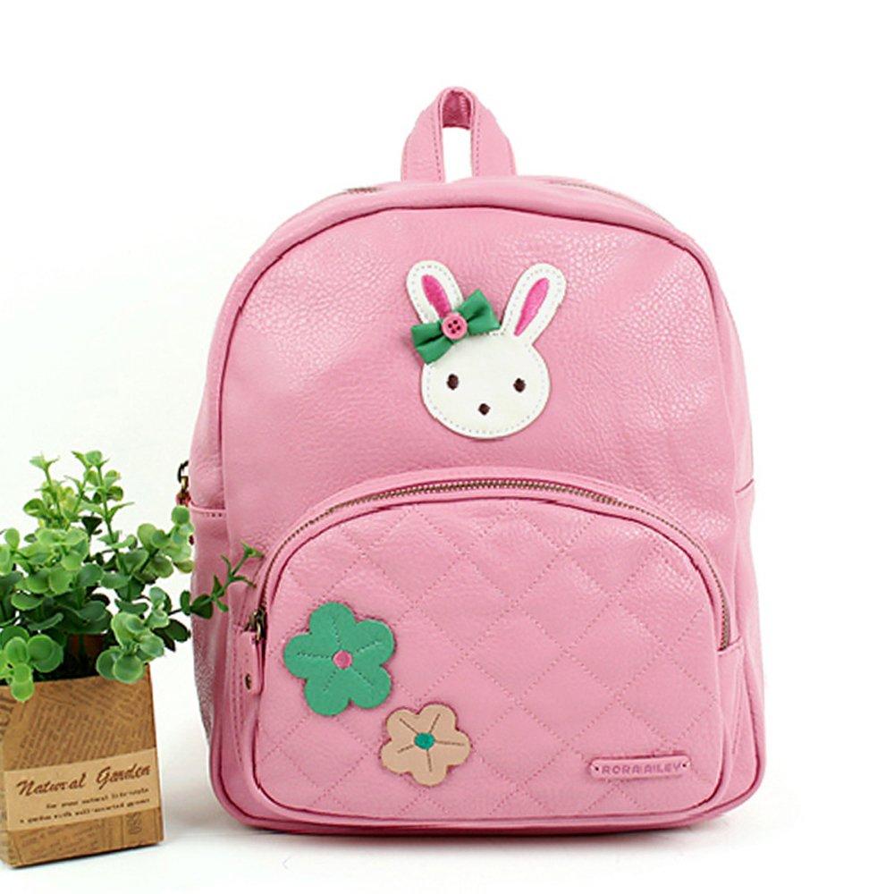 咔米嗒 皮质小兔粉色可爱儿童双肩包大班背包时尚高大