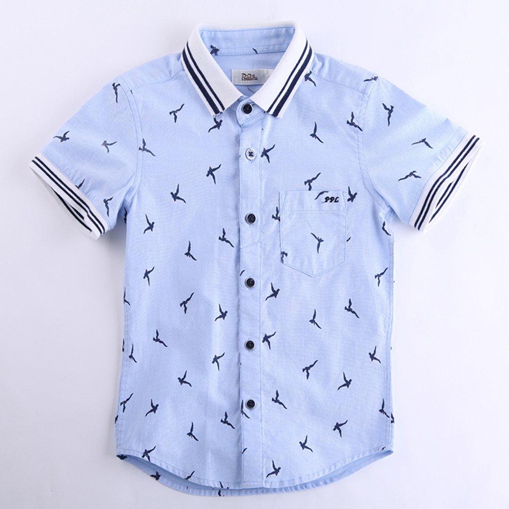 poipoilu 泡泡噜 童装 夏装男童衬衫短袖 夏季男儿童翻领衬衫衬衣