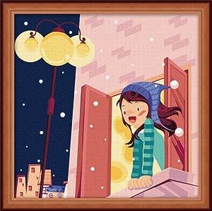 佳彩天颜 数字油画diy 客厅风景情侣手绘花卉装饰画 浪漫窗外 浪漫