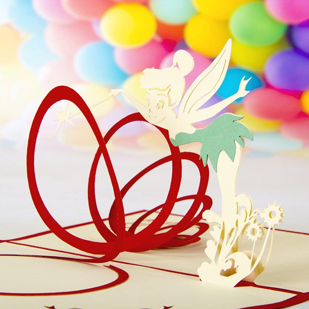 礼道 精灵仙女3d立体 创意儿童节礼物生日祝福新年邀请卡 红色魔法小