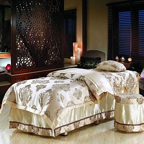 街吻 全棉美容院床罩 贡缎提花床罩四件套美容床床罩 欧式风情 75宽
