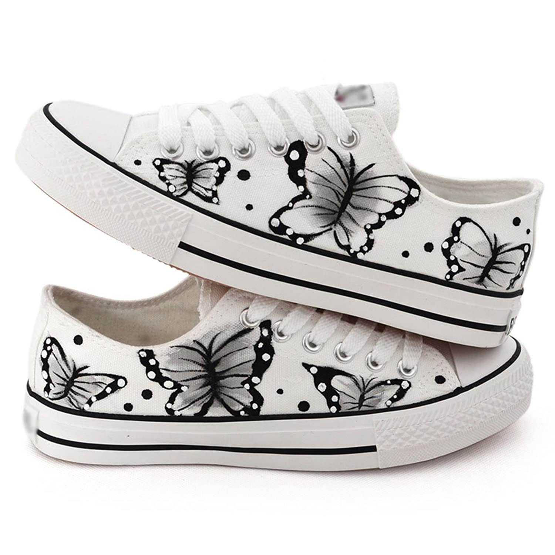 卜丁 手绘鞋 涂鸦女鞋 手绘帆布鞋 布鞋 单鞋 中国风 蝶舞图案 a0205