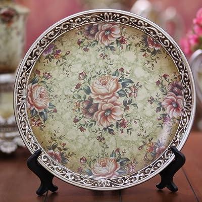 欧式复古花卉图案手绘陶瓷10寸装饰盘