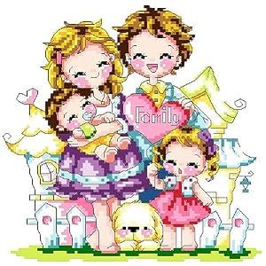 万众家园 十字绣 客厅卧室人物画 可爱卡通 幸福家庭图片
