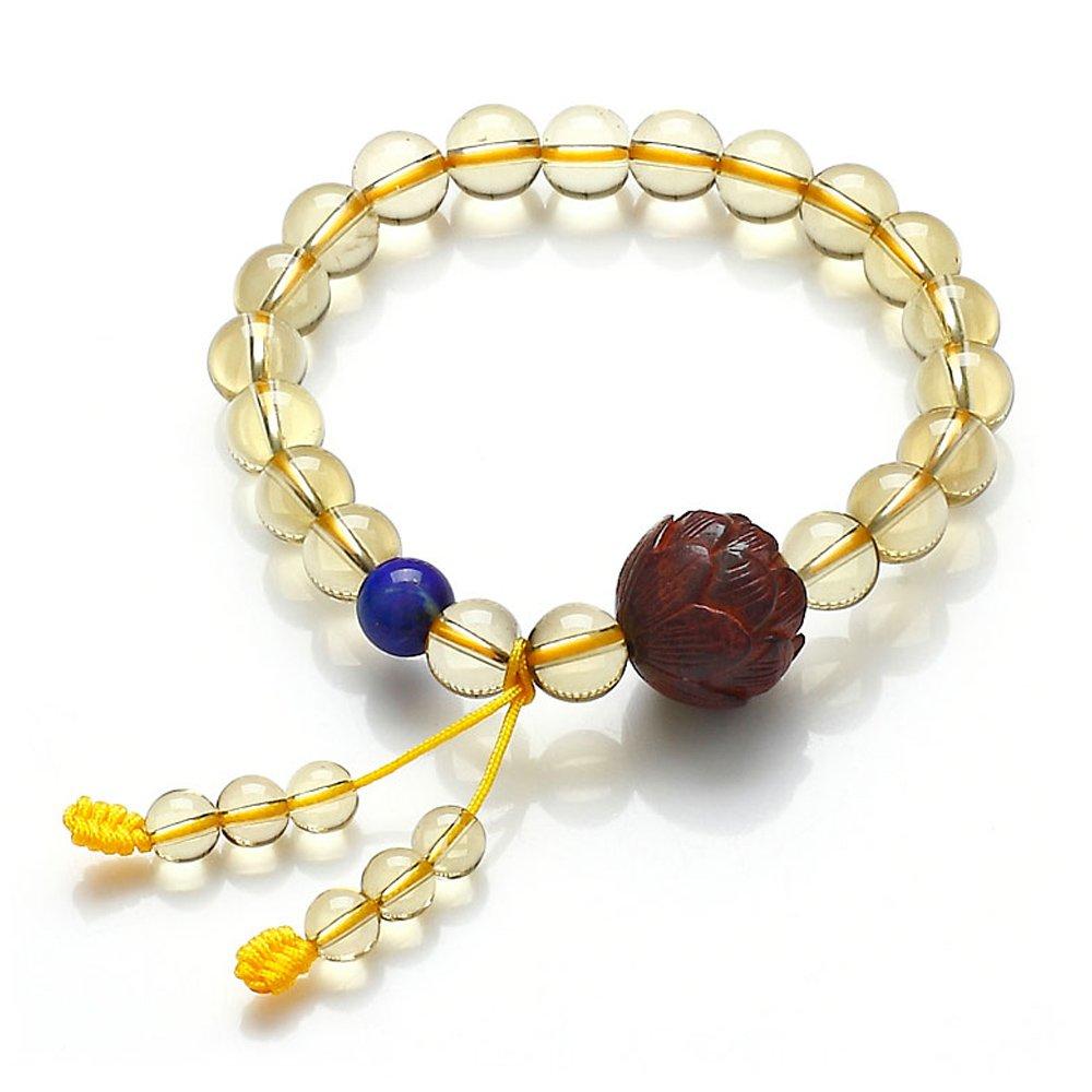 纯天然巴西黄水晶手链搭配a级青金石