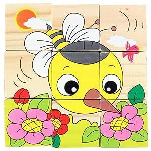 木头玩国 木制质六面画儿童拼图玩具 木制拼图儿童玩具 六面画昆虫小