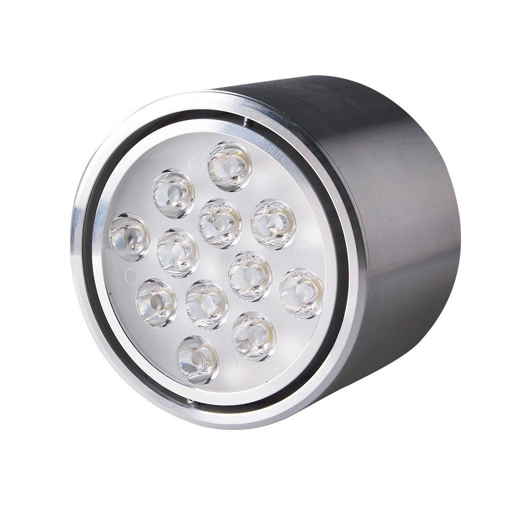 led明装筒灯12w客厅店铺全套天花灯圆形 银色 正白光