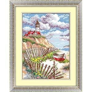 法国dmc十字绣正品专卖最新款十字绣卧室小画油画风景 静静的海边 14c