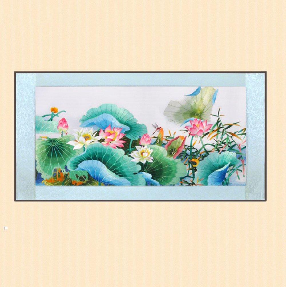 娇古 苏绣 蜻蜓荷花刺绣画 高档创意礼品 红色荷花40*