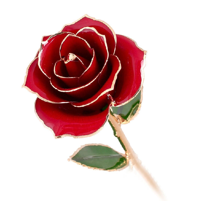银匠世家 红色妖姬 真花镀金玫瑰花 时尚摆件 礼物 免费刻字 (红金