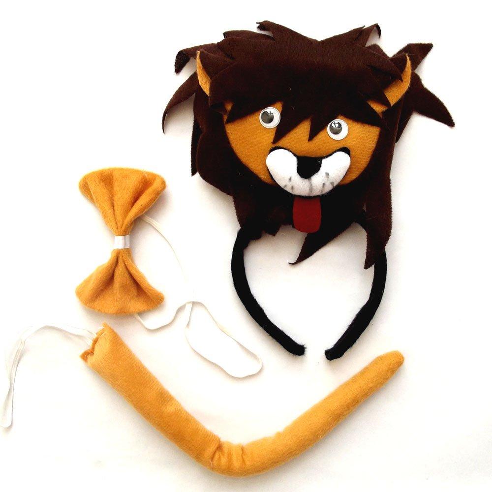 动物三件套六一儿童节动物头饰表演道具立体狮子头饰领结尾巴三件套