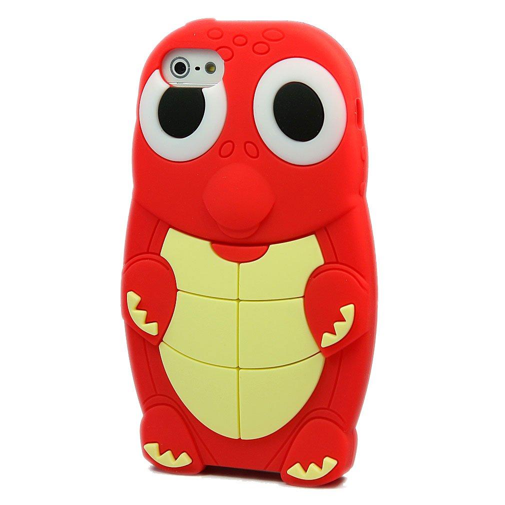 爱文卡仕 苹果 iphone 5 5g 手机壳 手机套 硅胶 海龟 红色   屏保