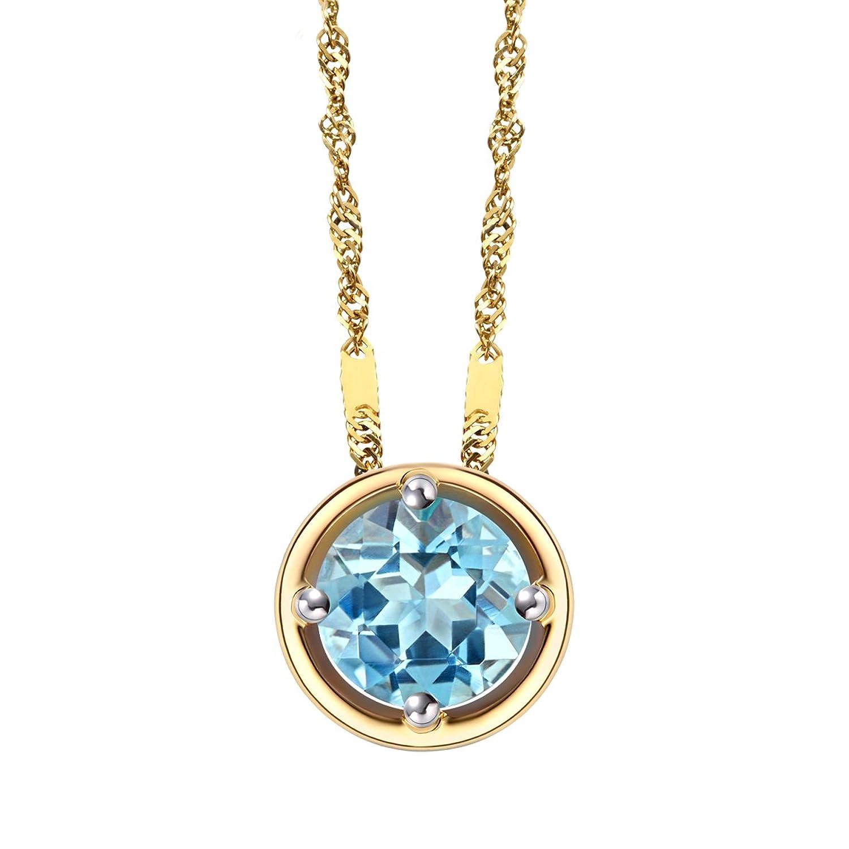 enzo 珠宝 生辰石 18k金天然彩宝圆形吊坠 海蓝宝