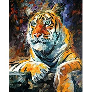 戈雅 老虎,高档纯手绘无框油画,尺寸:60x90cm,现代印象手绘动物油画