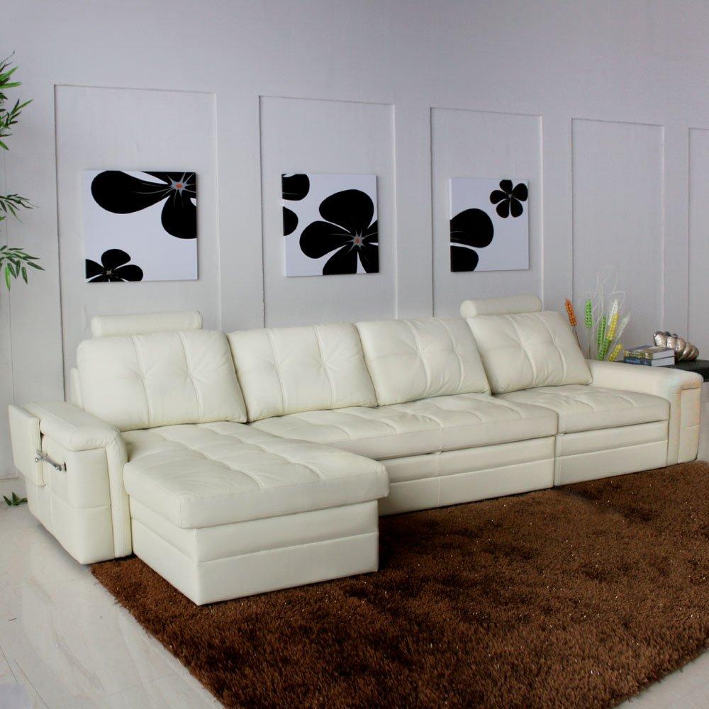 多功能沙发床/真皮转角沙发/小户型储物