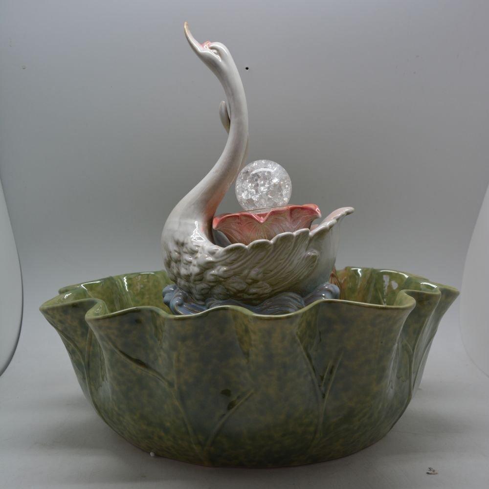 福久久家瓷 陶瓷喷泉 流水器 陶瓷加湿雾化器 创意家居摆件 天鹅戏水