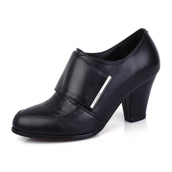 意尔康 真皮皮鞋女士高跟鞋粗跟圆头套脚女单鞋欧美时尚窝窝鞋 黑色