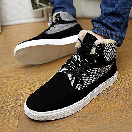 冬季时尚 高帮韩版潮流休闲男鞋运动潮男板鞋学院风加绒棉鞋短靴子