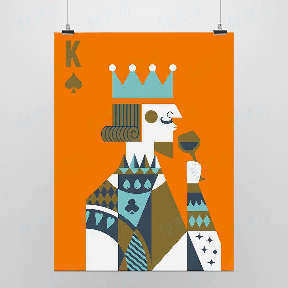 light art 轻艺术 创意插画 国王皇后 a款 简约抽象扑克牌图片海报