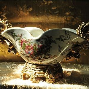 欧风剪影 欧式陶瓷宫廷奢华复古裂纹釉水果盘家居