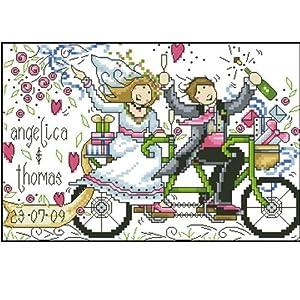 大幅客厅卧室欧式爱情油画自行车婚礼