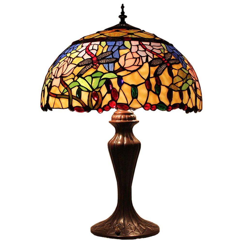 欧式45cm复古奢华蒂凡尼蜻蜓彩色玻璃灯具别墅客厅卧室台灯d180005t