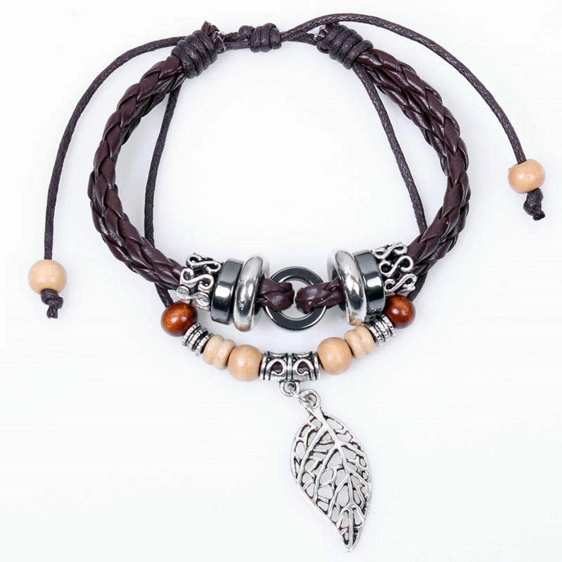 热销爆款 木珠串珠手链 一片绿叶皮质编织手链 波西米亚风手链