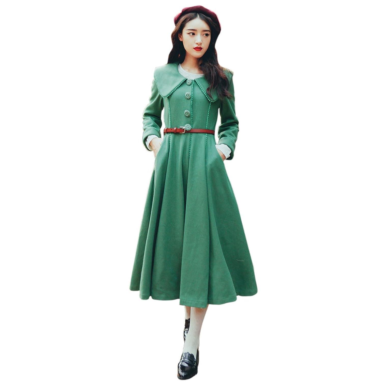 撒赫菈 秋冬新款女装欧式复古大翻领大裙摆束腰绿色毛