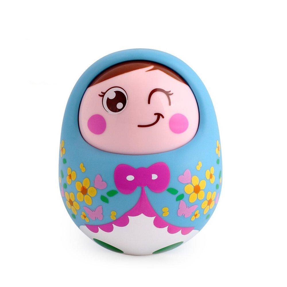 汇乐 点头不倒翁娃娃大号 可爱幼儿宝宝益智玩具不倒翁0-1岁 (蓝色)