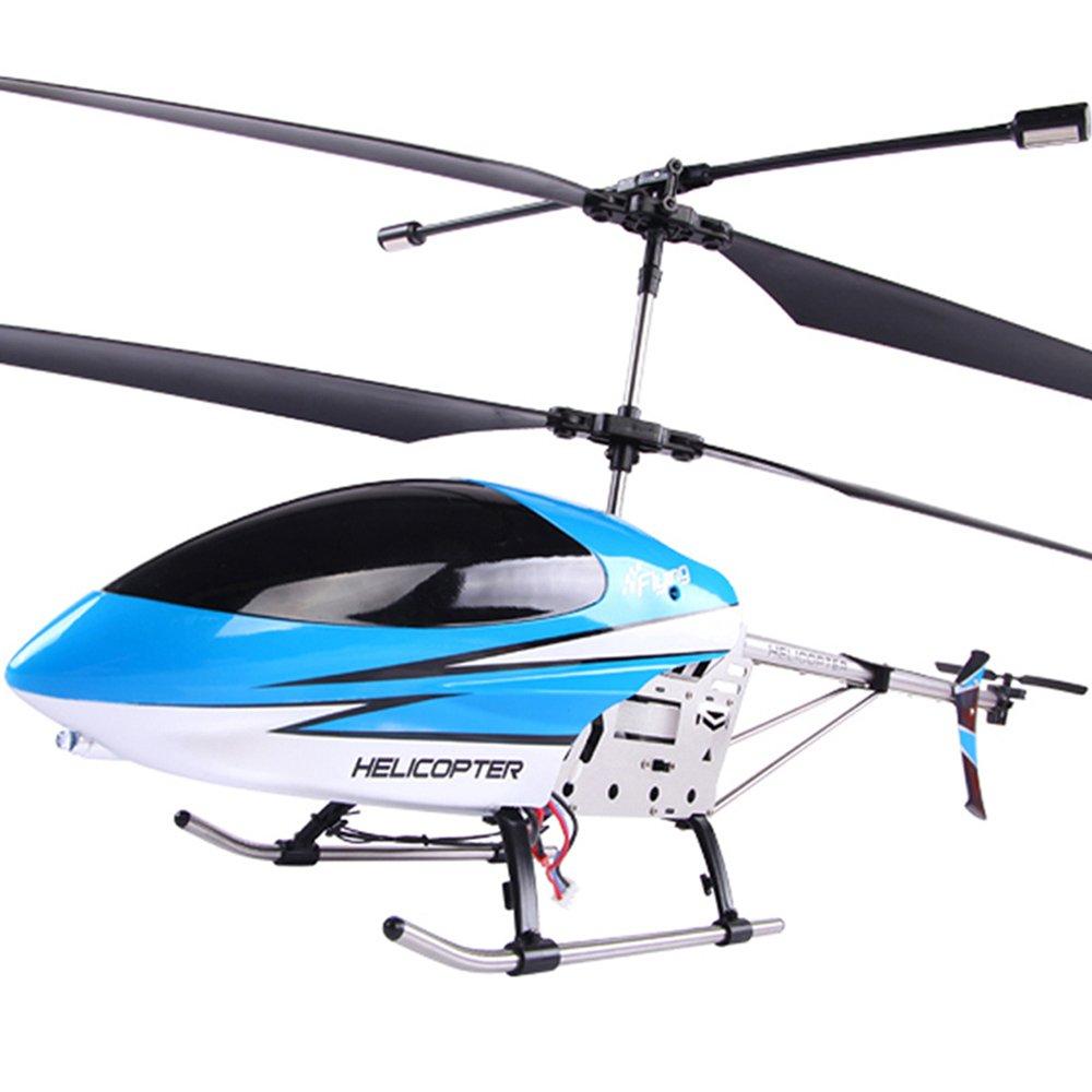 碟中碟 遥控飞机 耐摔充电合金80cm直升飞机航模型玩具s906蓝色