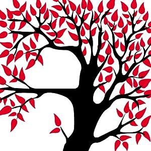 时尚经典唯美抽象黑白红发财树客厅卧室