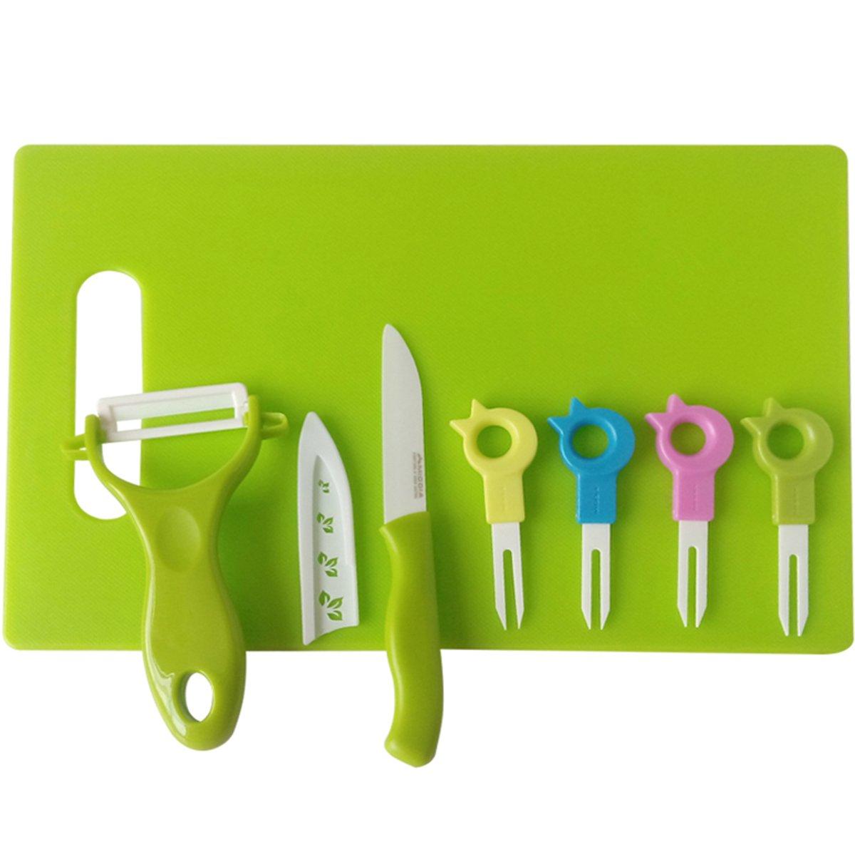 美帝亚 陶瓷刀套装水果刀叉8件套小鸟水果叉抗菌卫生便携果签餐具