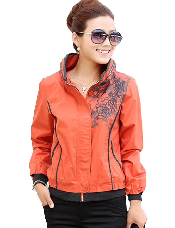 立领带帽泼墨刺绣女士短款外套 大衣 适合春秋季节穿 yyxs3716 橘色 m