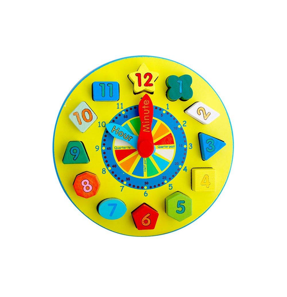qumeng 趣萌 儿童早教木制时钟 形状配对数字卡通积木