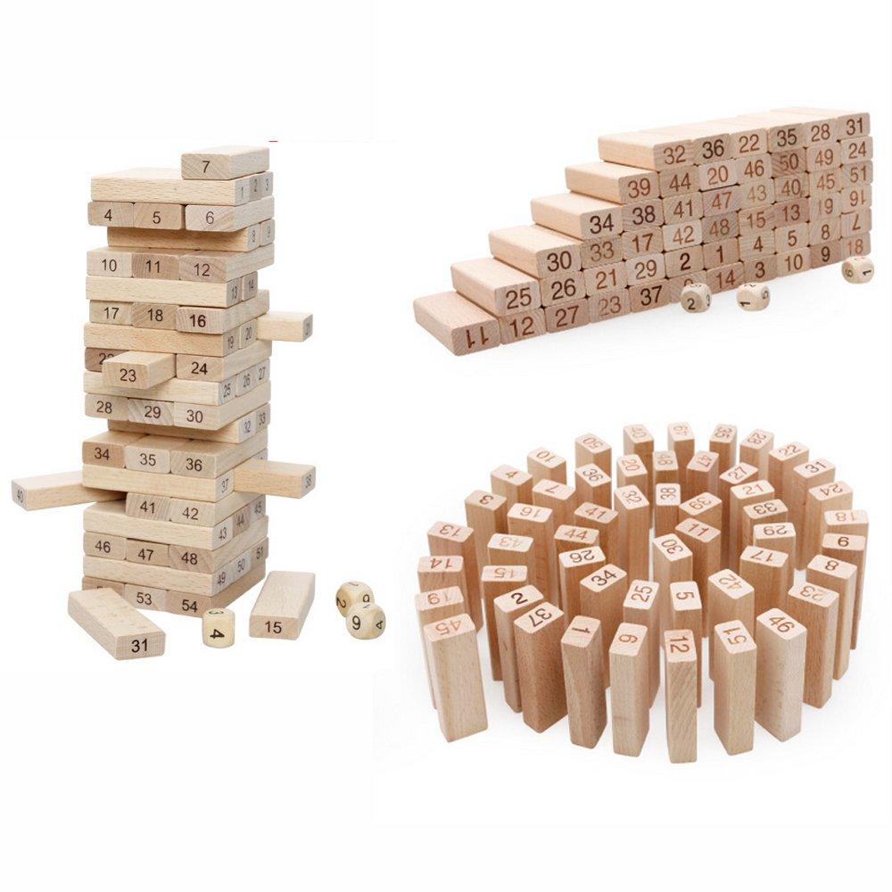 54片榉木彩色叠叠乐数字叠叠高层层叠抽积木