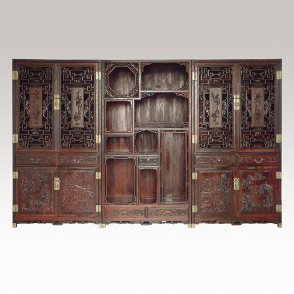 仙游御典红木家具 经典清式书柜三组合 红木展示柜 红酸枝清式书房