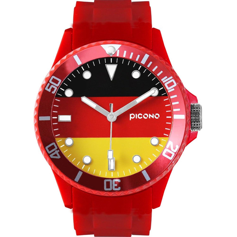 picono 皮卡诺 红色国旗防水塑料腕表石英手表 - 德国