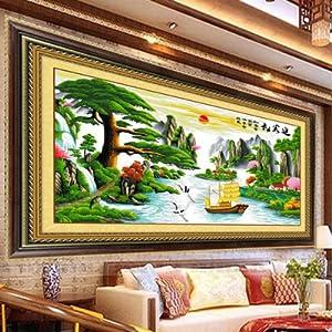 松十字绣财运版2米大幅客厅大画风景山水画系列一帆风顺办公室挂画