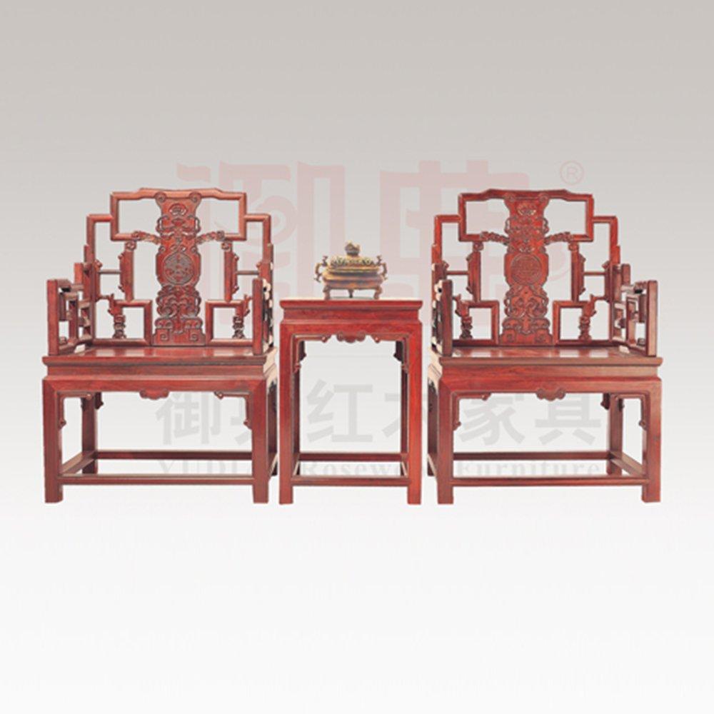 仙游御典红木家具 老挝大红酸枝拐子龙太师椅