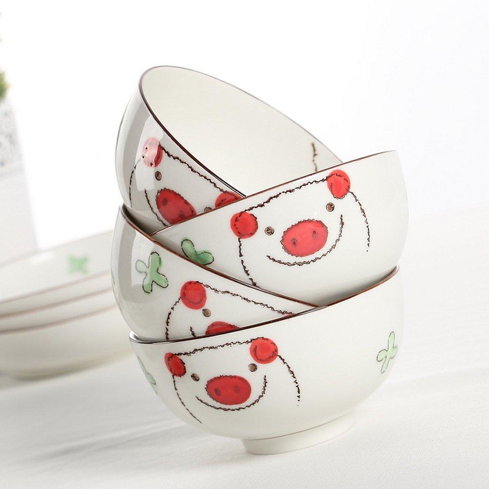 日式韩式创意可爱碗筷碗盘碗碟12头手绘釉下彩餐具套装猫猪 大鼻猪碗