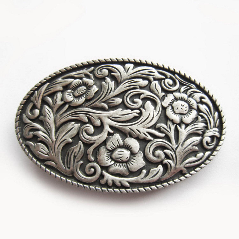镀银牛仔皮带扣头西部花纹系列《唐草》腰带扣头