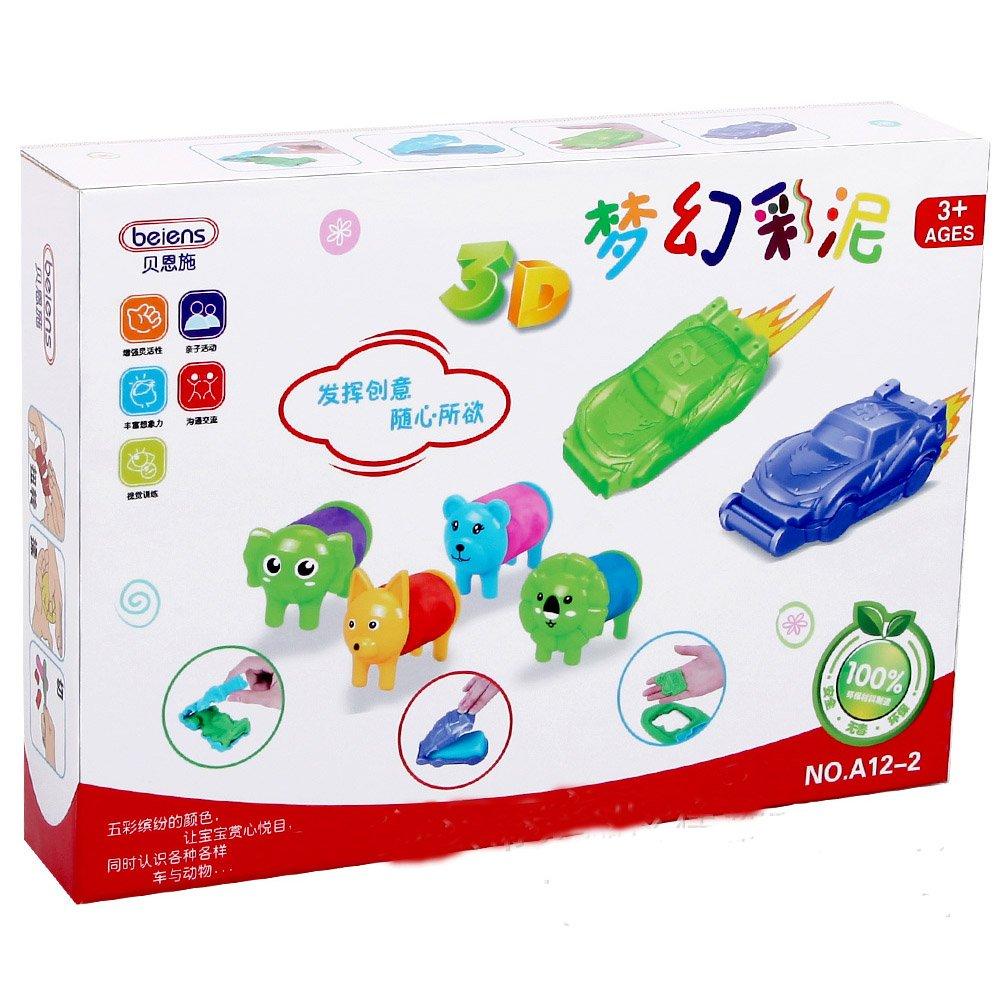 无毒粘土橡皮泥 动物 汽车12色环保彩泥 diy创意益智套装玩具