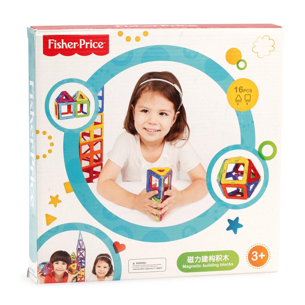 费雪磁力片玩具磁力建构积木玩具百变提拉积木16片装