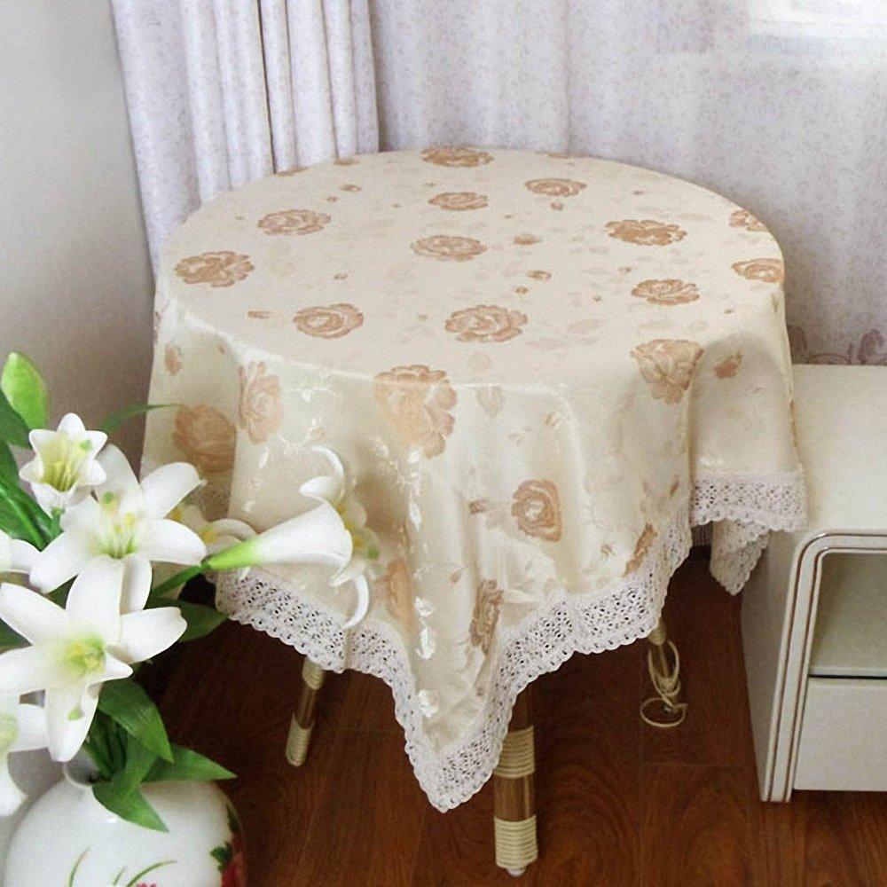smo 思侬 布艺 精美桌布 欧式田园风格餐桌布 蕾丝圆桌布 温馨花蕊 黄