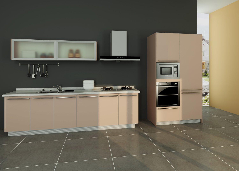 惠而浦橱柜定制厨房整体橱柜 一字型定做厨柜 uv门板现代简约 1米 pvc