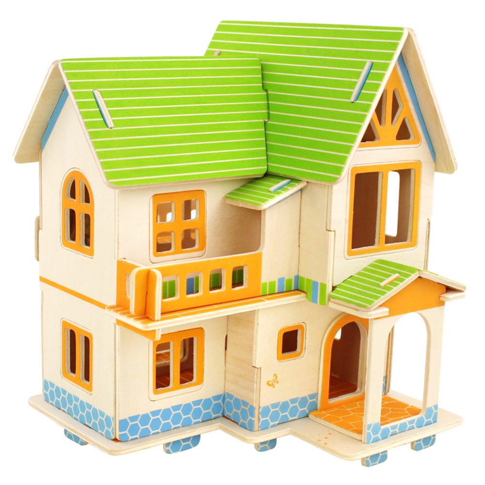 若态科技积木 3d拼图 建筑模型 房子 diy手工模型成人