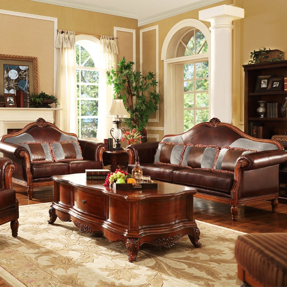 斯洛梵 家具美式实木雕花沙发 欧式客厅皮艺沙发组合2018s 双人