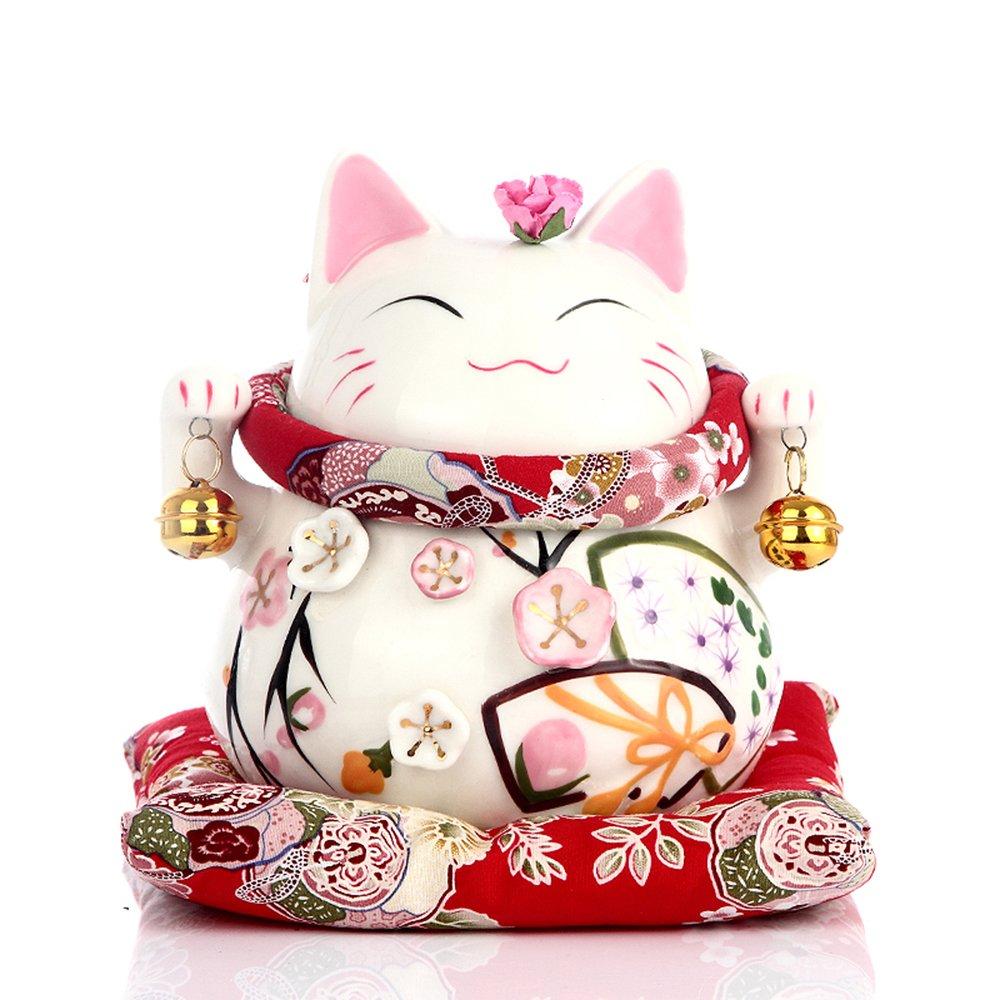 爱笑喜庆 招财猫摆件陶瓷大号日本招财猫储蓄罐存钱罐开业结婚创意