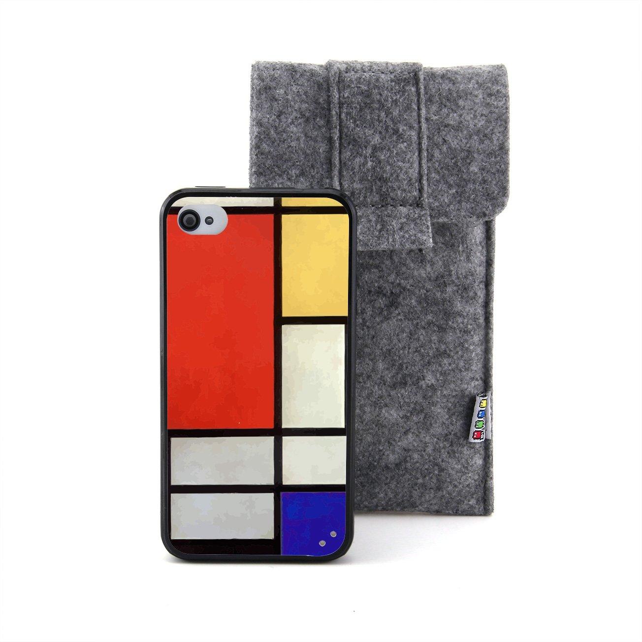 红黄蓝的构成 蒙得里安油画浮雕设计风格 塑料 tpu手机壳 手机套 适用