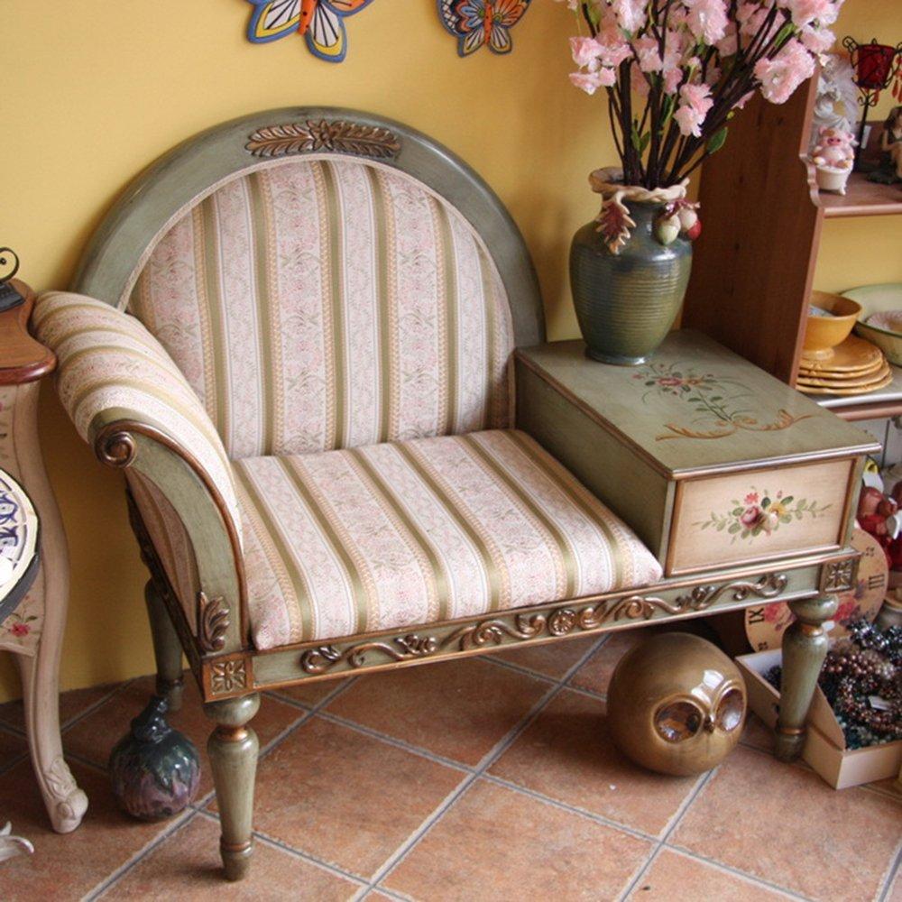 鱼西美屋 手绘牡丹花欧式田园单人沙发椅贵妃椅贵妃榻